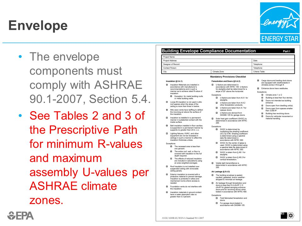 Envelope The envelope components must comply with ASHRAE 90.1-2007, Section 5.4. See Tables 2 and 3 of the Prescriptive Path for minimum R-values and