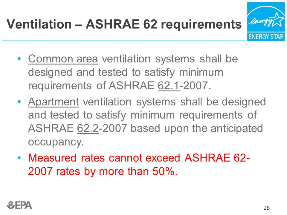 Ventilation – ASHRAE 62 requirements Common area ventilation systems shall be designed and tested to satisfy minimum requirements of ASHRAE 62.1-2007.