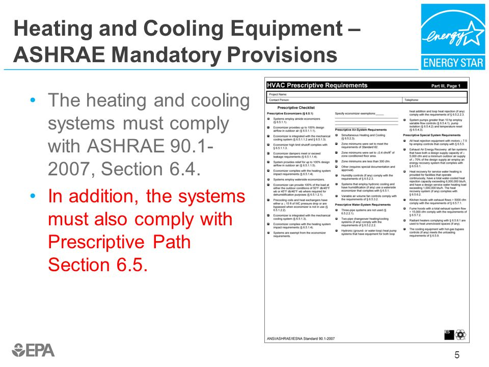 Heating and Cooling Equipment – ASHRAE Mandatory Provisions The heating and cooling systems must comply with ASHRAE 90.1- 2007, Section 6.4. In additi