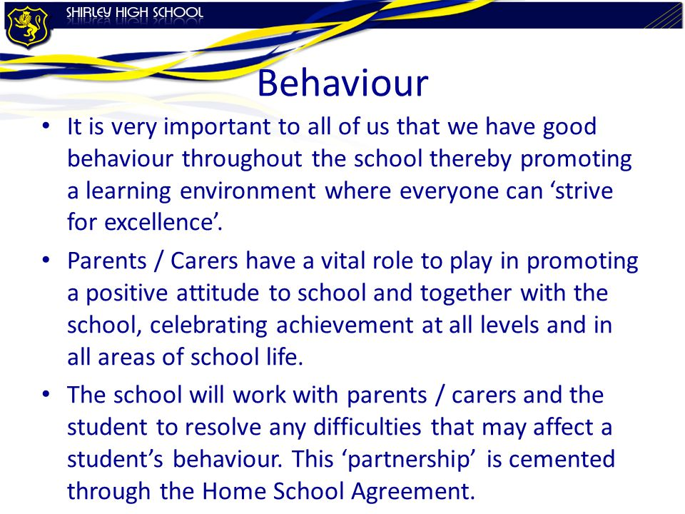 Behaviour It is very important to all of us that we have good behaviour throughout the school thereby promoting a learning environment where everyone can 'strive for excellence'.