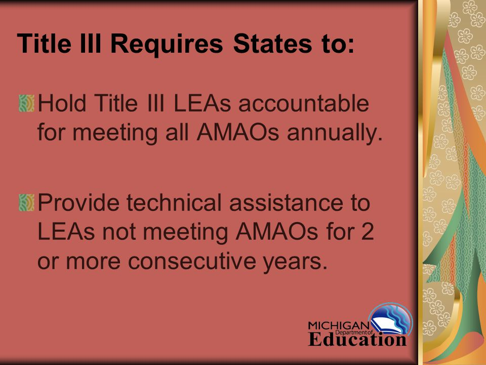 Title III Requires States to: Hold Title III LEAs accountable for meeting all AMAOs annually.