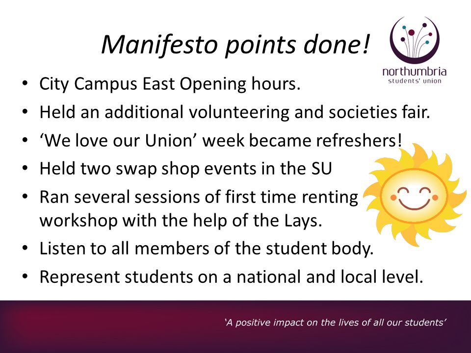 Manifesto points done. City Campus East Opening hours.