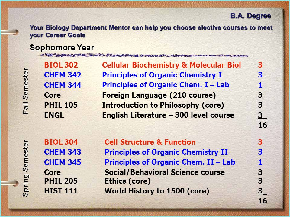 Sophomore Year BIOL 302Cellular Biochemistry & Molecular Biol3 CHEM 342Principles of Organic Chemistry I3 CHEM 344Principles of Organic Chem.