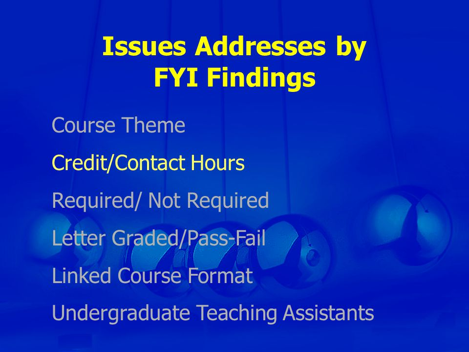 Issues Addresses by FYI Findings Course Theme Credit/Contact Hours Required/ Not Required Letter Graded/Pass-Fail Linked Course Format Undergraduate Teaching Assistants