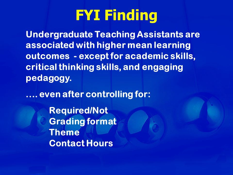 FYI Finding Undergraduate Teaching Assistants are associated with higher mean learning outcomes - except for academic skills, critical thinking skills, and engaging pedagogy.....