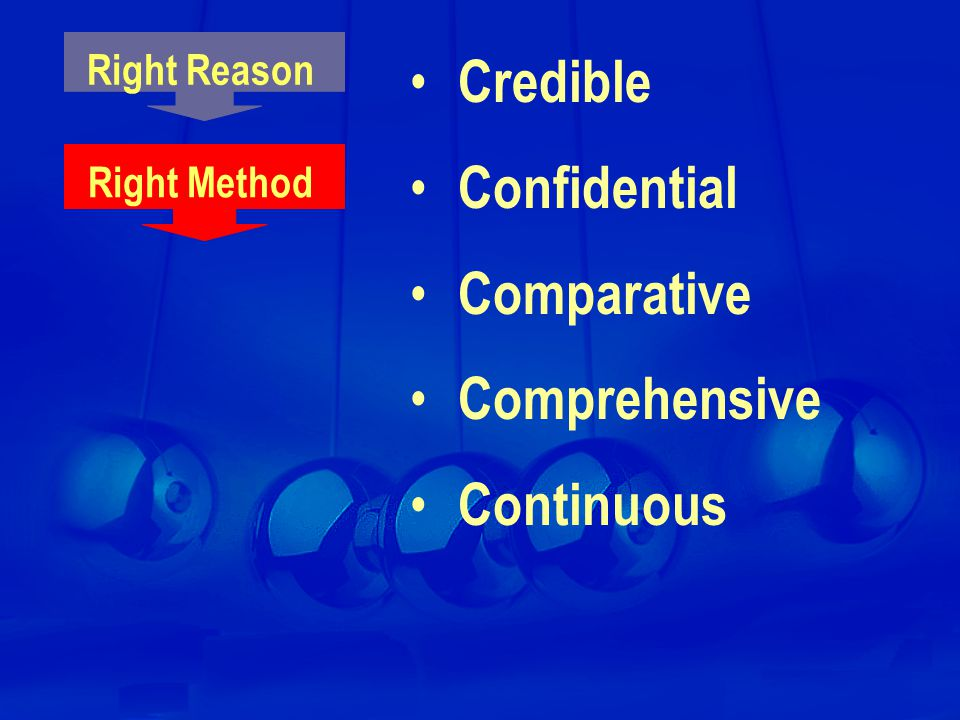 Right Method Credible Confidential Comparative Comprehensive Continuous Right Reason