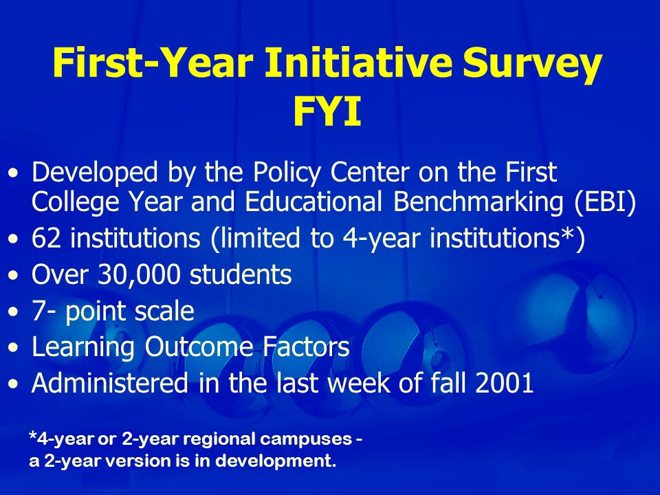 First-Year Initiative Survey FYI Developed by the Policy Center on the First College Year and Educational Benchmarking (EBI) 62 institutions (limited to 4-year institutions*) Over 30,000 students 7- point scale Learning Outcome Factors Administered in the last week of fall 2001 *4-year or 2-year regional campuses - a 2-year version is in development.