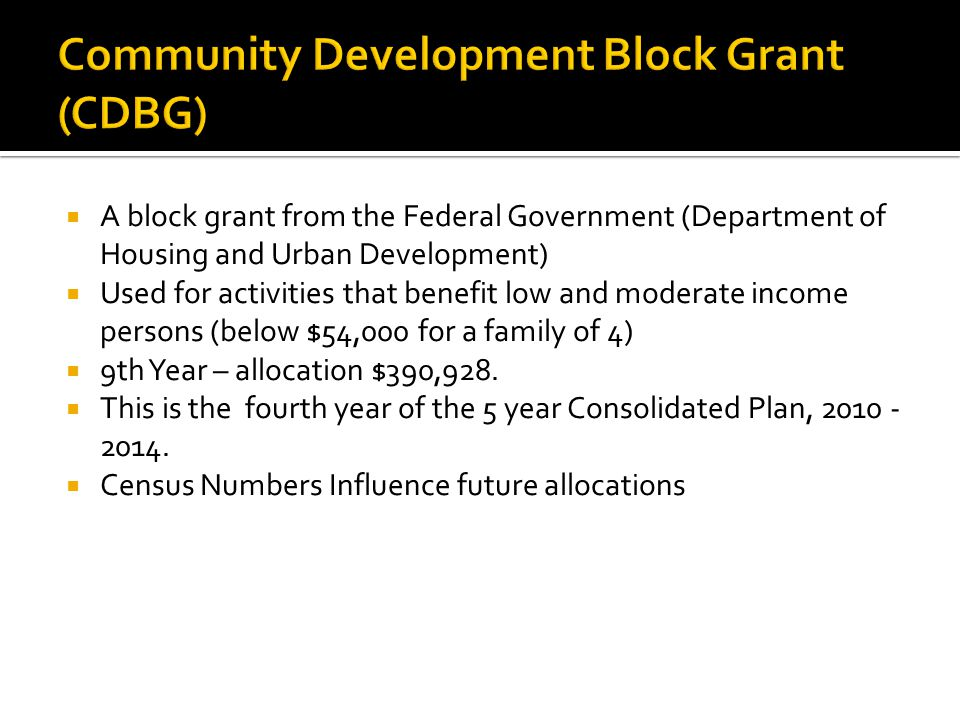  A block grant from the Federal Government (Department of Housing and Urban Development)  Used for activities that benefit low and moderate income persons (below $54,000 for a family of 4)  9th Year – allocation $390,928.
