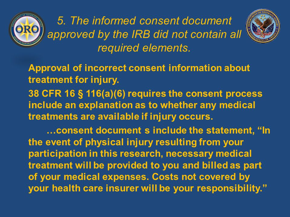 5. The informed consent document approved by the IRB did not contain all required elements.