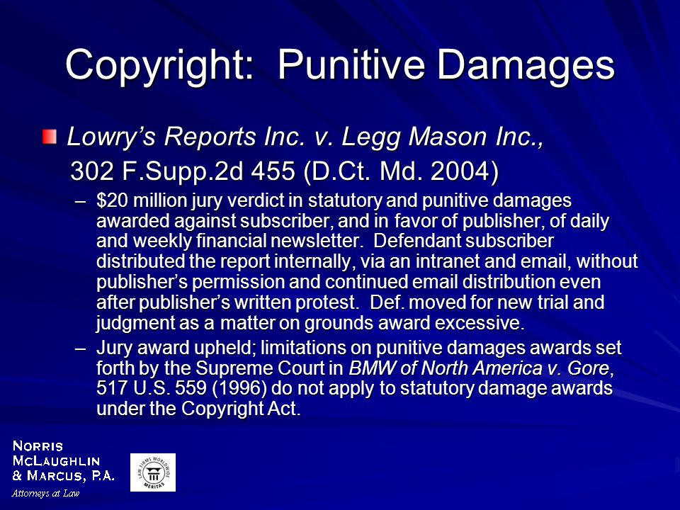 Copyright: Punitive Damages Lowry's Reports Inc. v.