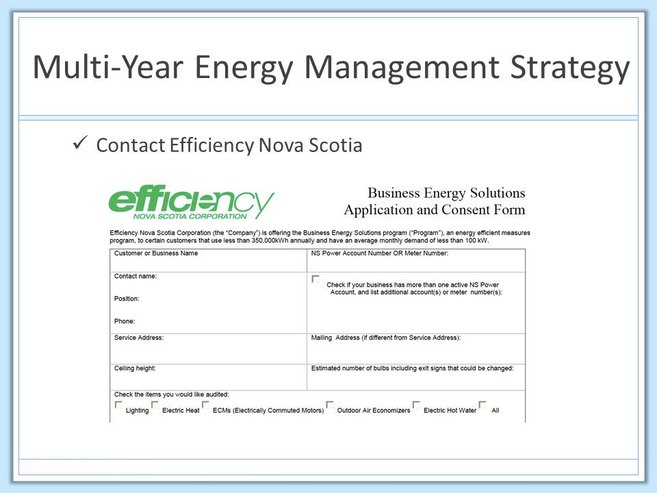 Multi-Year Energy Management Strategy Contact Efficiency Nova Scotia