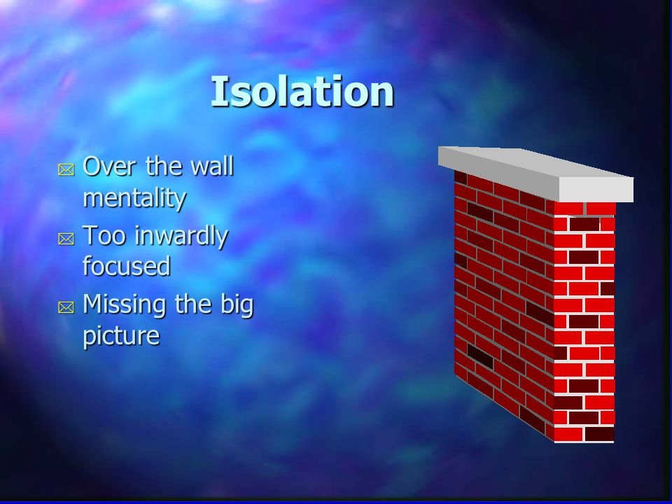 Isolation * Over the wall mentality * Too inwardly focused * Missing the big picture