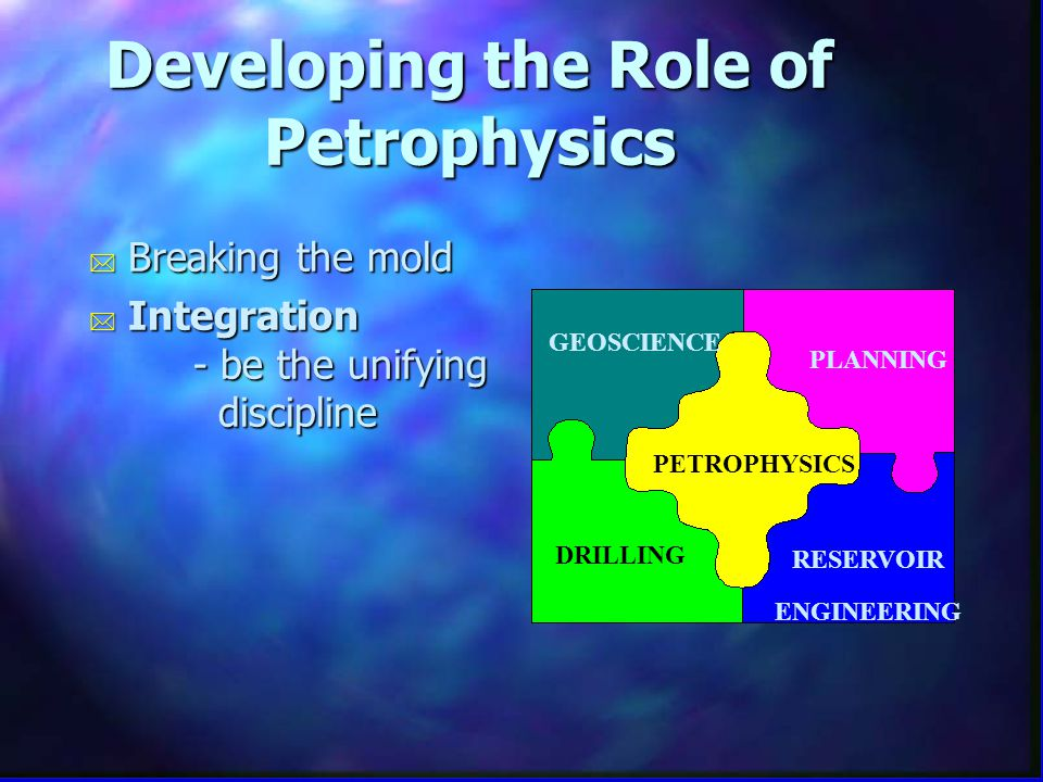 Developing the Role of Petrophysics * Breaking the mold * Integration - be the unifying discipline PETROPHYSICS GEOSCIENCE DRILLING RESERVOIR ENGINEERING PLANNING