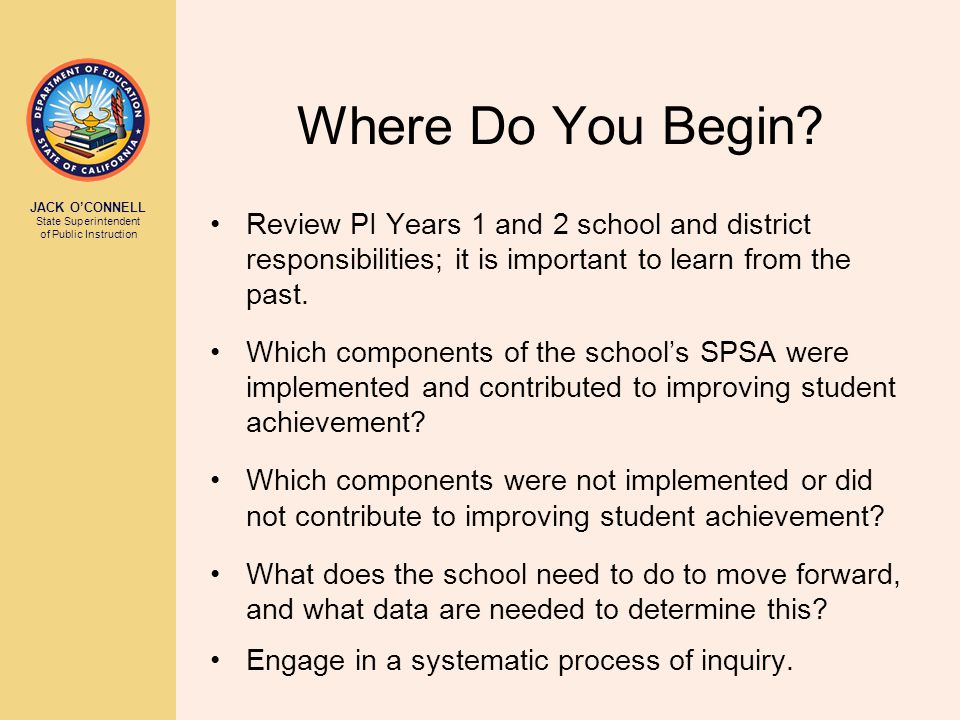 JACK O'CONNELL State Superintendent of Public Instruction Considering the Corrective Action Options (See Training Guide pages 22-25) Option 1: Replace the school staff who are relevant to the failure to make AYP Option 2: Institute and fully implement a new curriculum, including providing appropriate professional development for all relevant staff Option 3: Significantly decrease management authority at the school level