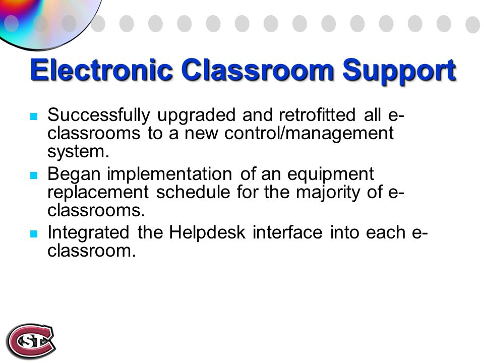 Electronic Classroom Support Successfully upgraded and retrofitted all e- classrooms to a new control/management system.