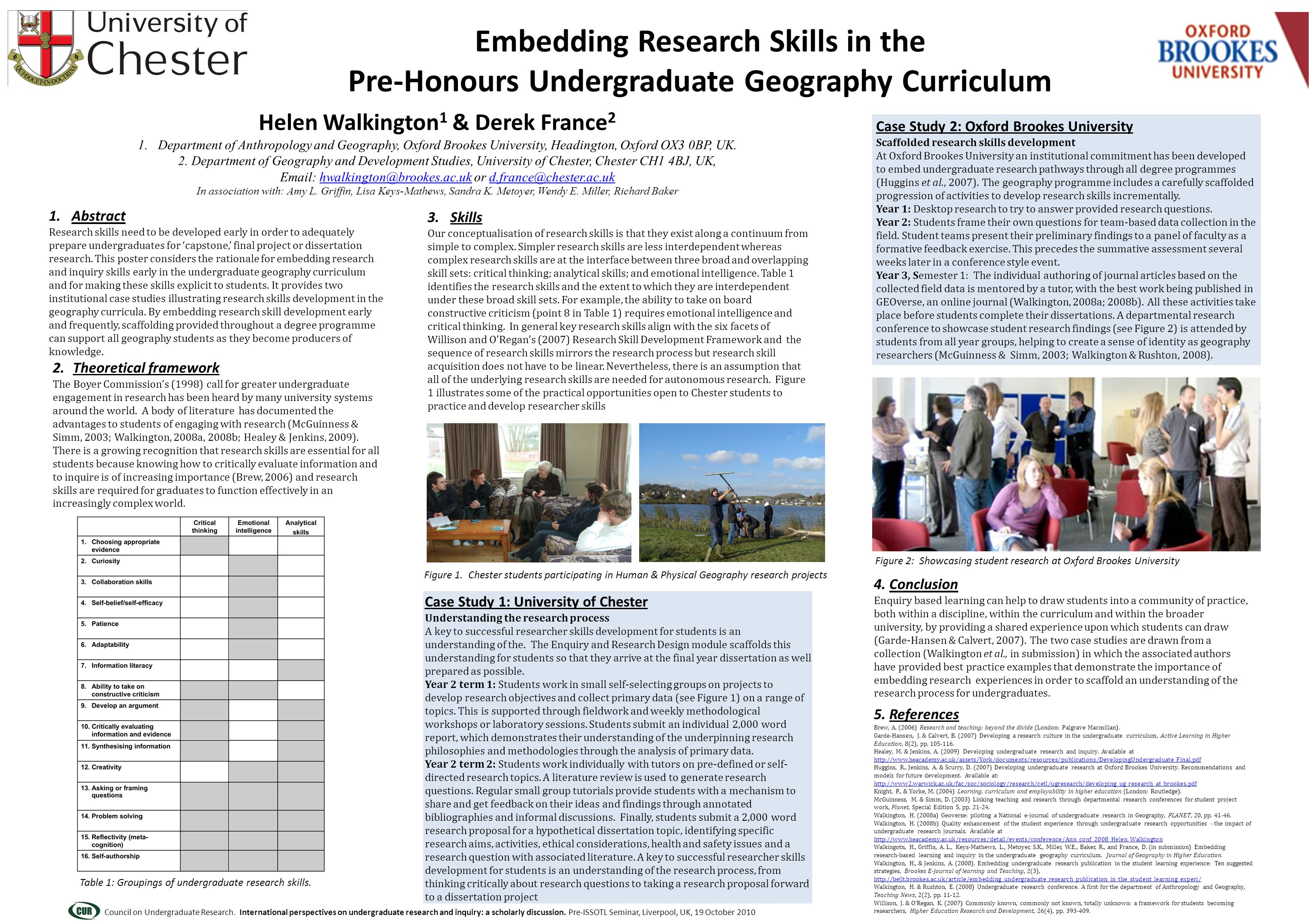 1. Abstract Research skills need to be developed early in order to adequately prepare undergraduates for 'capstone,' final project or dissertation res