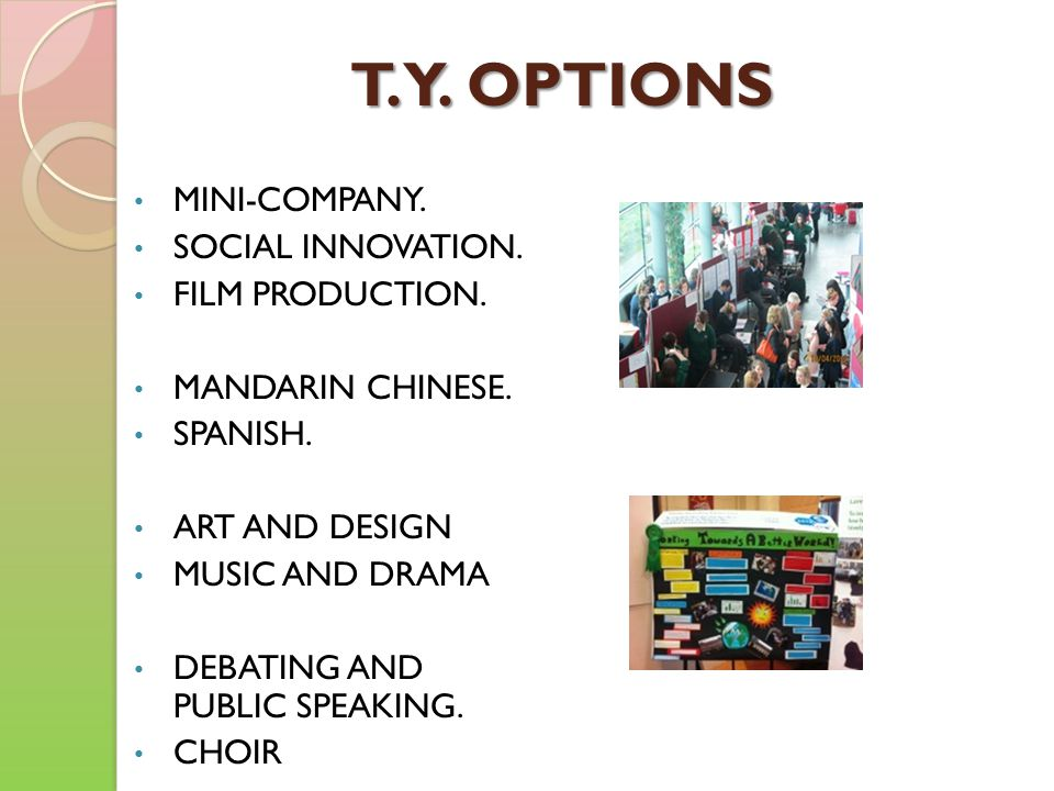 T. Y. OPTIONS MINI-COMPANY. SOCIAL INNOVATION. FILM PRODUCTION.