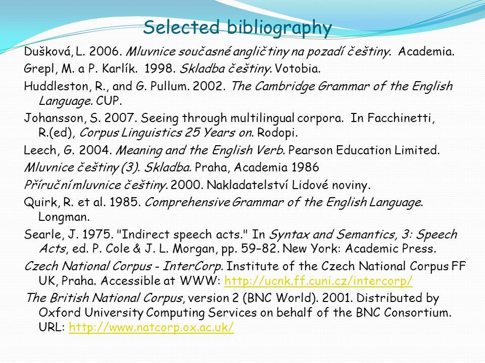 Selected bibliography Dušková, L. 2006. Mluvnice současné angličtiny na pozadí češtiny.