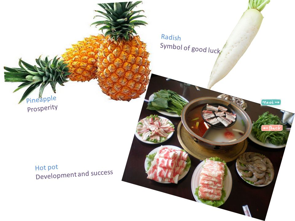 Pineapple Prosperity Radish Symbol of good luck Hot pot Development and success