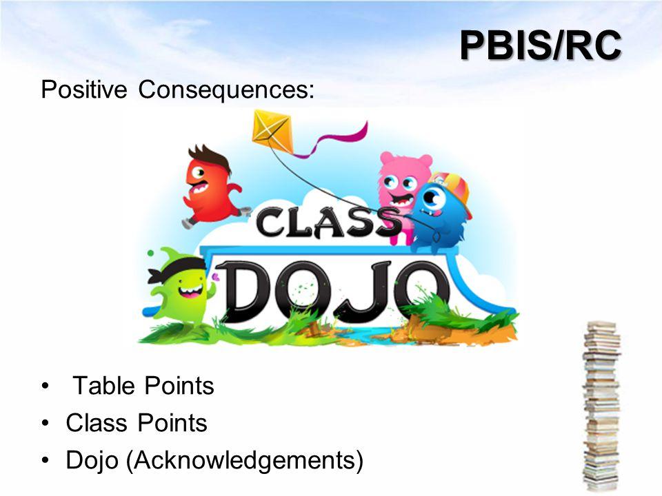 PBIS/RC Positive Consequences: Table Points Class Points Dojo (Acknowledgements)