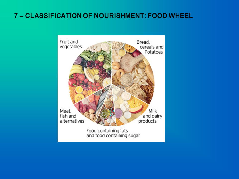 7 – CLASSIFICATION OF NOURISHMENT: FOOD WHEEL