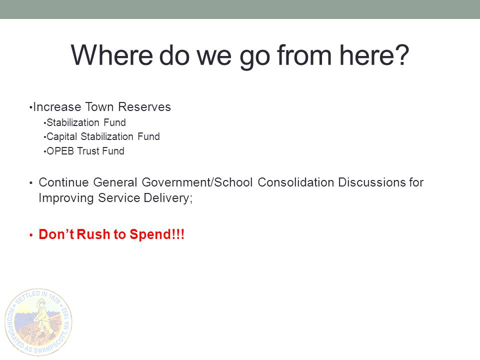 Where do we go from here? Increase Town Reserves Stabilization Fund Capital Stabilization Fund OPEB Trust Fund Continue General Government/School Cons