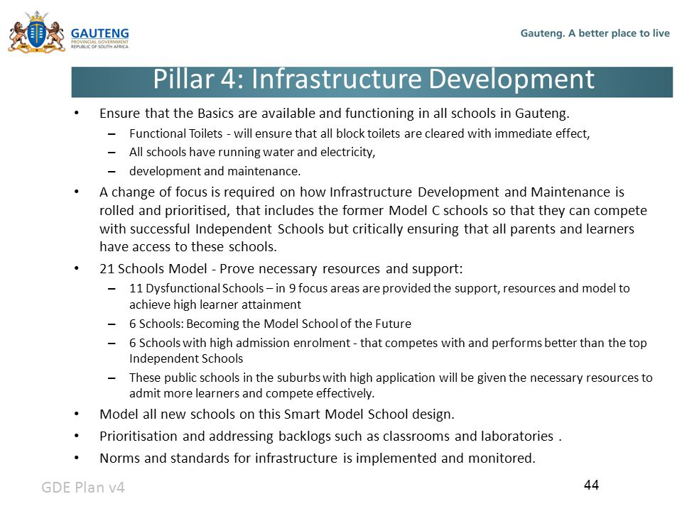 Pillar 4: Infrastructure Development Ensure that the Basics are available and functioning in all schools in Gauteng.