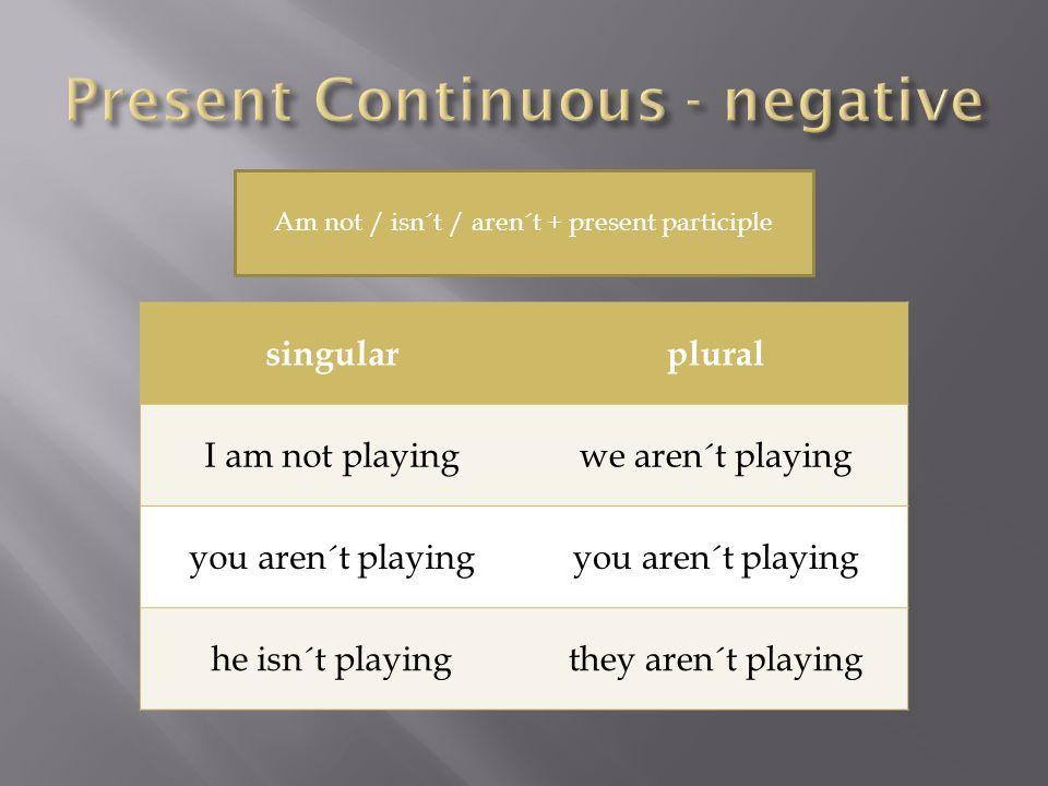 singularplural I am not playingwe aren´t playing you aren´t playing he isn´t playingthey aren´t playing Am not / isn´t / aren´t + present participle