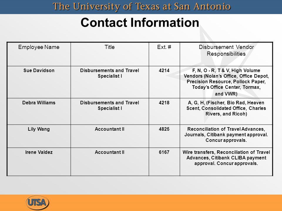 Contact Information Employee NameTitleExt.