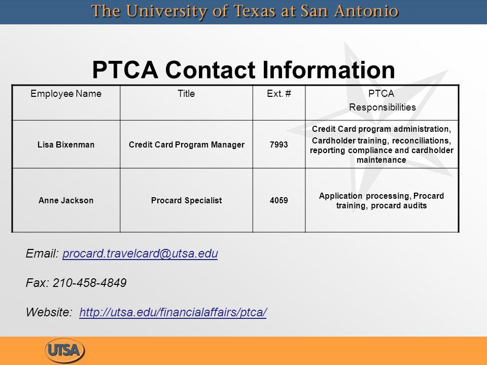 PTCA Contact Information Employee NameTitleExt.