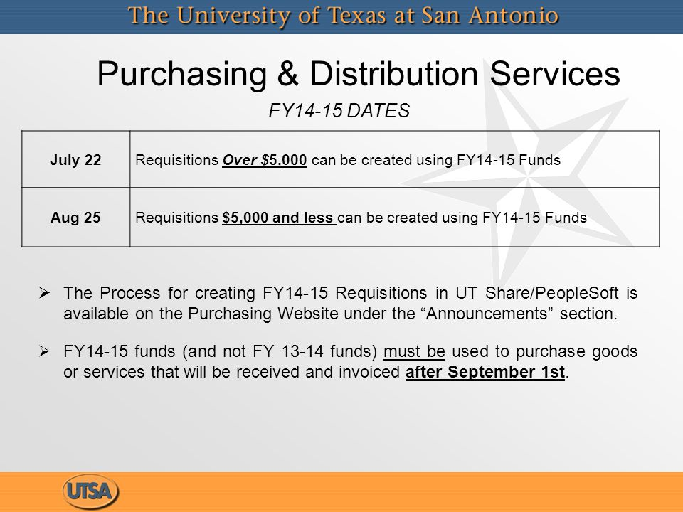 Purchasing & Distribution Services  The Process for creating FY14-15 Requisitions in UT Share/PeopleSoft is available on the Purchasing Website under the Announcements section.