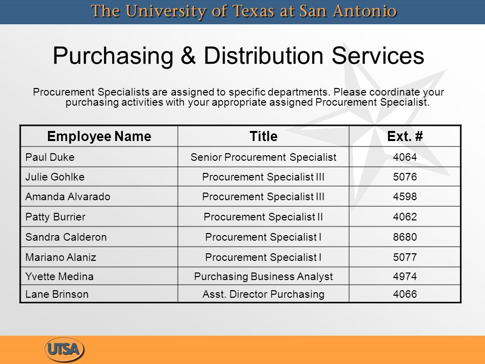 Purchasing & Distribution Services Procurement Specialists are assigned to specific departments. Please coordinate your purchasing activities with you