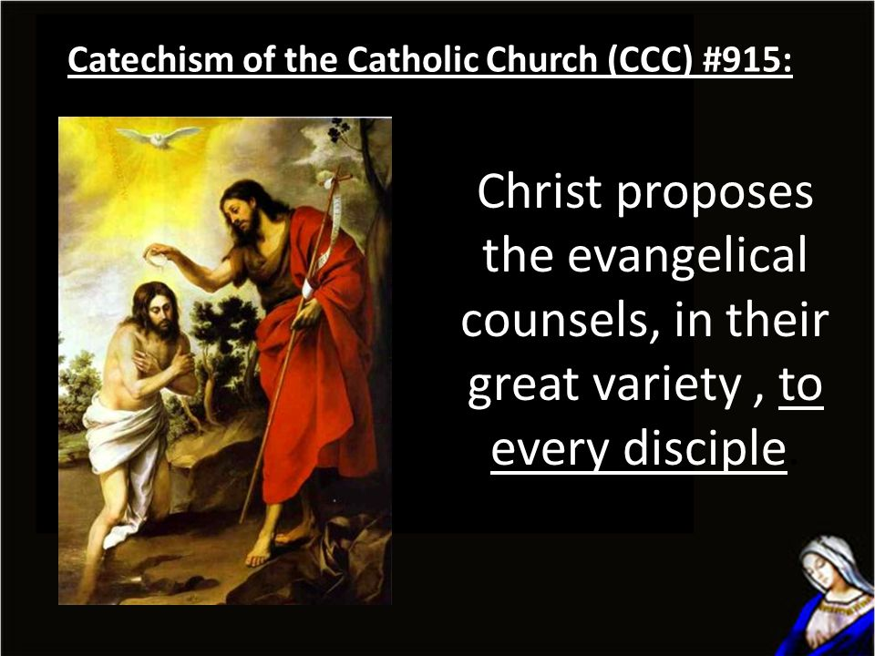 Christ proposes the evangelical counsels, in their great variety, to every disciple.