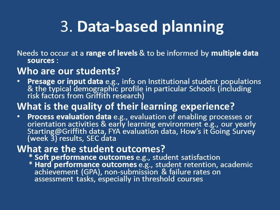 3. Data-based planning Needs to occur at a range of levels & to be informed by multiple data sources : Who are our students? Presage or input data e.g