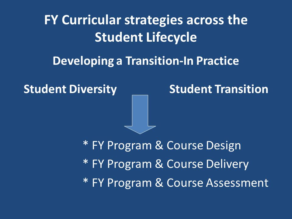 FY Curricular strategies across the Student Lifecycle Developing a Transition-In Practice Student Diversity Student Transition * FY Program & Course Design * FY Program & Course Delivery * FY Program & Course Assessment
