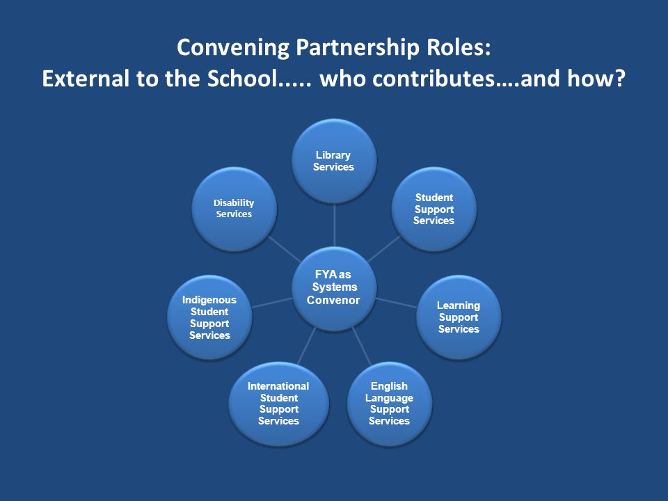 Convening Partnership Roles: External to the School.....