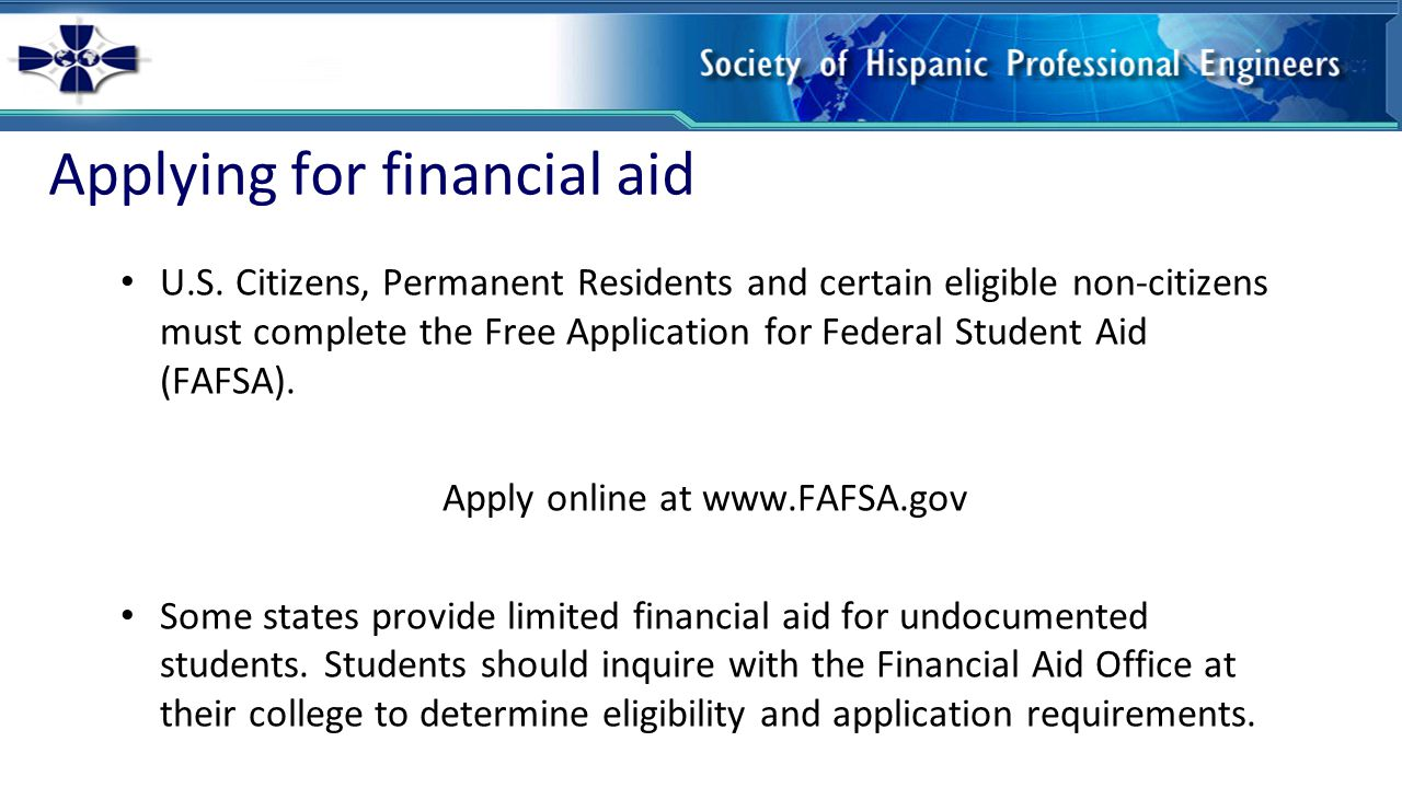 Applying for financial aid U.S.