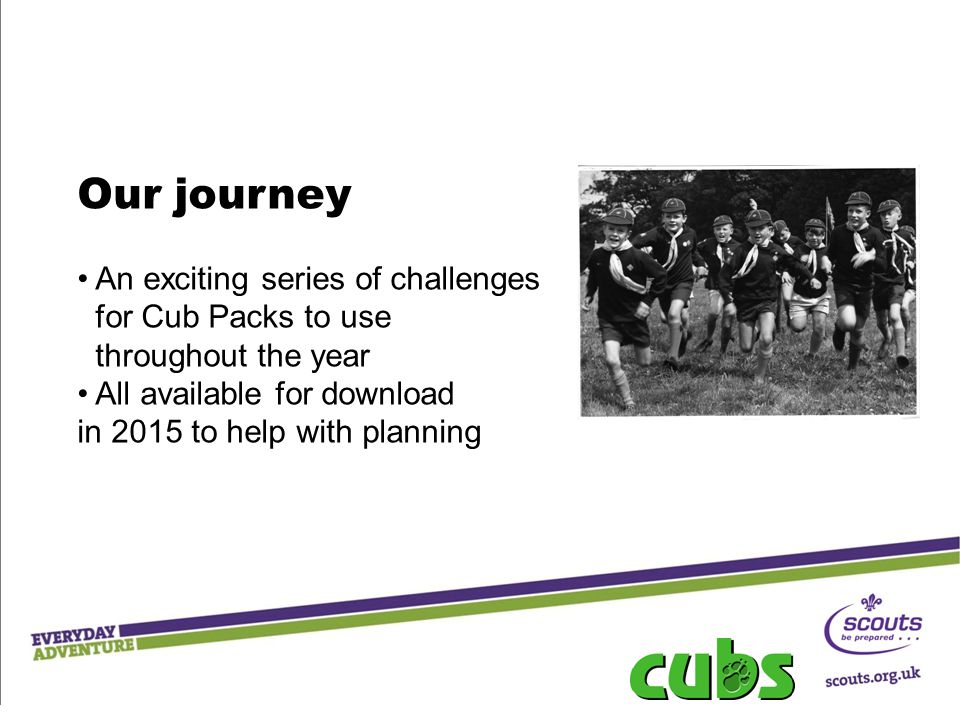 Our journey An exciting series of challenges for Cub Packs to use throughout the year All available for download in 2015 to help with planning