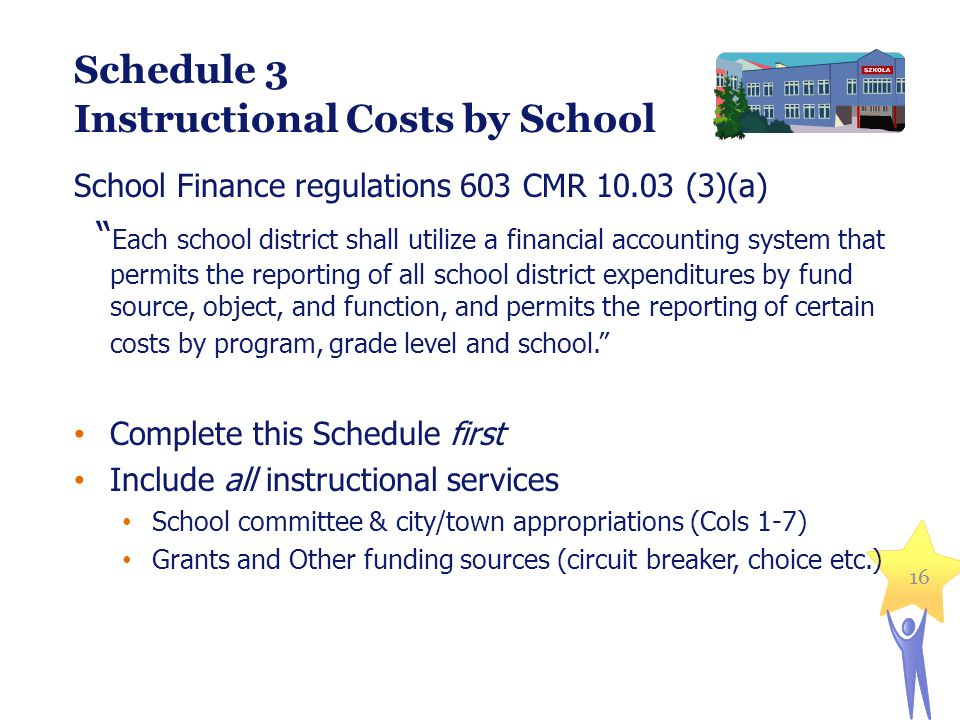 16 Schedule 3 Instructional Costs by School School Finance regulations 603 CMR 10.03 (3)(a) Each school district shall utilize a financial accounting system that permits the reporting of all school district expenditures by fund source, object, and function, and permits the reporting of certain costs by program, grade level and school. Complete this Schedule first Include all instructional services School committee & city/town appropriations (Cols 1-7) Grants and Other funding sources (circuit breaker, choice etc.)