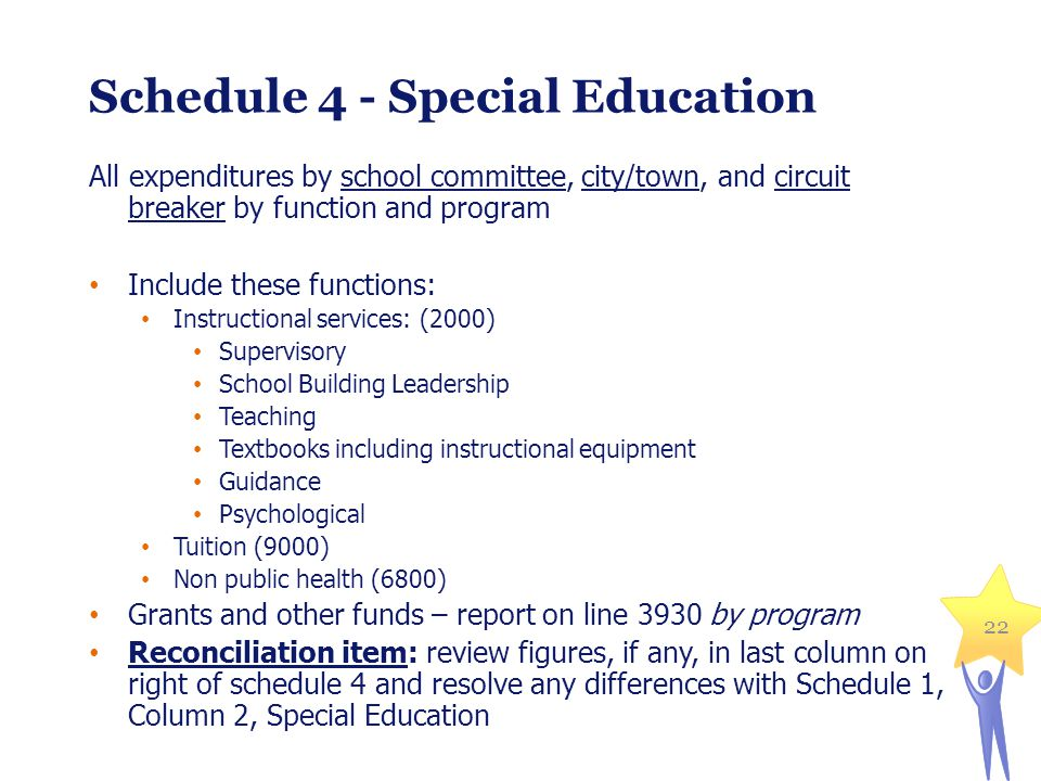 22 Schedule 4 - Special Education All expenditures by school committee, city/town, and circuit breaker by function and program Include these functions: Instructional services: (2000) Supervisory School Building Leadership Teaching Textbooks including instructional equipment Guidance Psychological Tuition (9000) Non public health (6800) Grants and other funds – report on line 3930 by program Reconciliation item: review figures, if any, in last column on right of schedule 4 and resolve any differences with Schedule 1, Column 2, Special Education