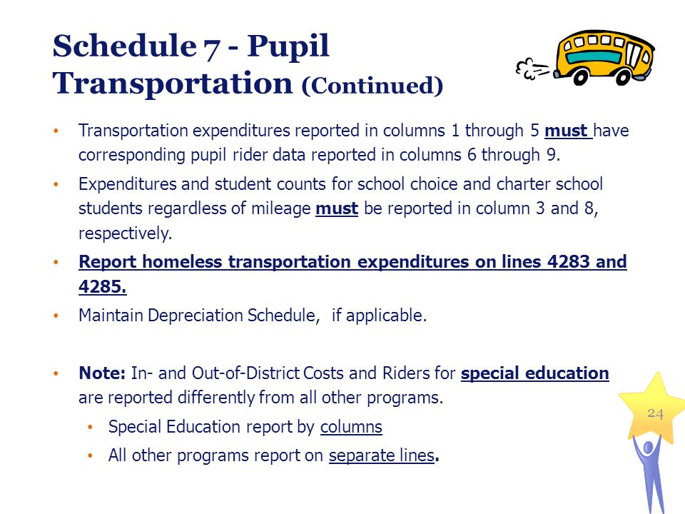 24 Schedule 7 - Pupil Transportation (Continued) Transportation expenditures reported in columns 1 through 5 must have corresponding pupil rider data reported in columns 6 through 9.