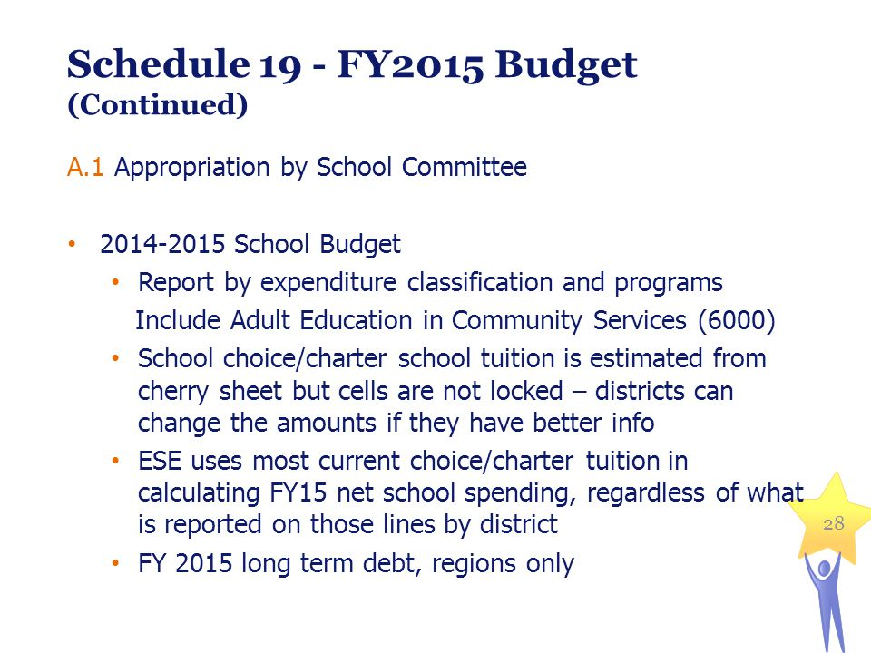 28 Schedule 19 - FY2015 Budget (Continued) A.1 Appropriation by School Committee 2014-2015 School Budget Report by expenditure classification and programs Include Adult Education in Community Services (6000) School choice/charter school tuition is estimated from cherry sheet but cells are not locked – districts can change the amounts if they have better info ESE uses most current choice/charter tuition in calculating FY15 net school spending, regardless of what is reported on those lines by district FY 2015 long term debt, regions only