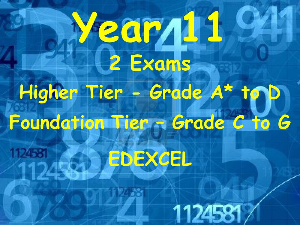 EDEXCEL Year 11 Higher Tier - Grade A* to D Foundation Tier – Grade C to G 2 Exams
