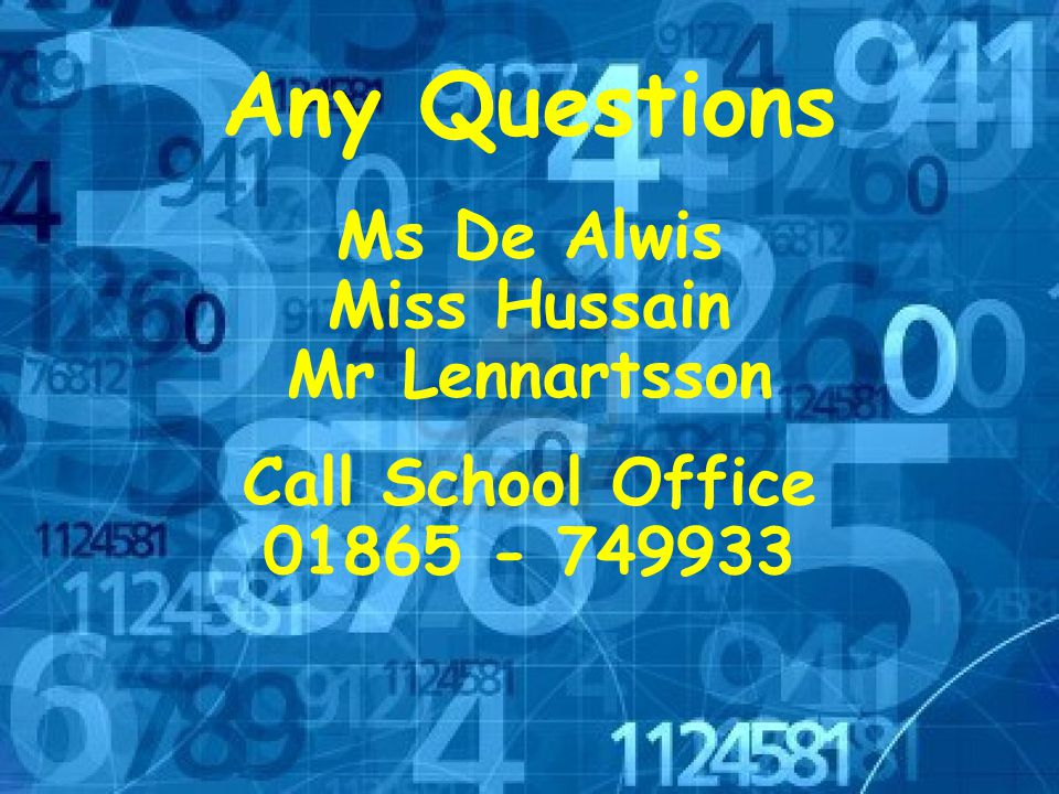 Any Questions Ms De Alwis Miss Hussain Mr Lennartsson Call School Office 01865 - 749933