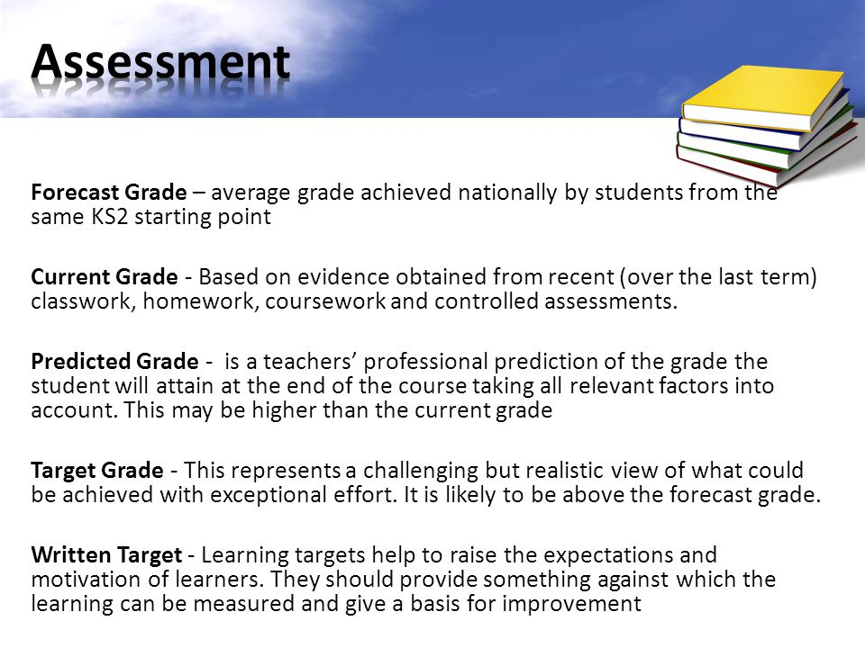 We have a range of information about students' achievement, including students' KS2 levels and information about how students with similar levels perform nationally over time (the Forecast grade ) Targets for Year 10 students are aspirational.