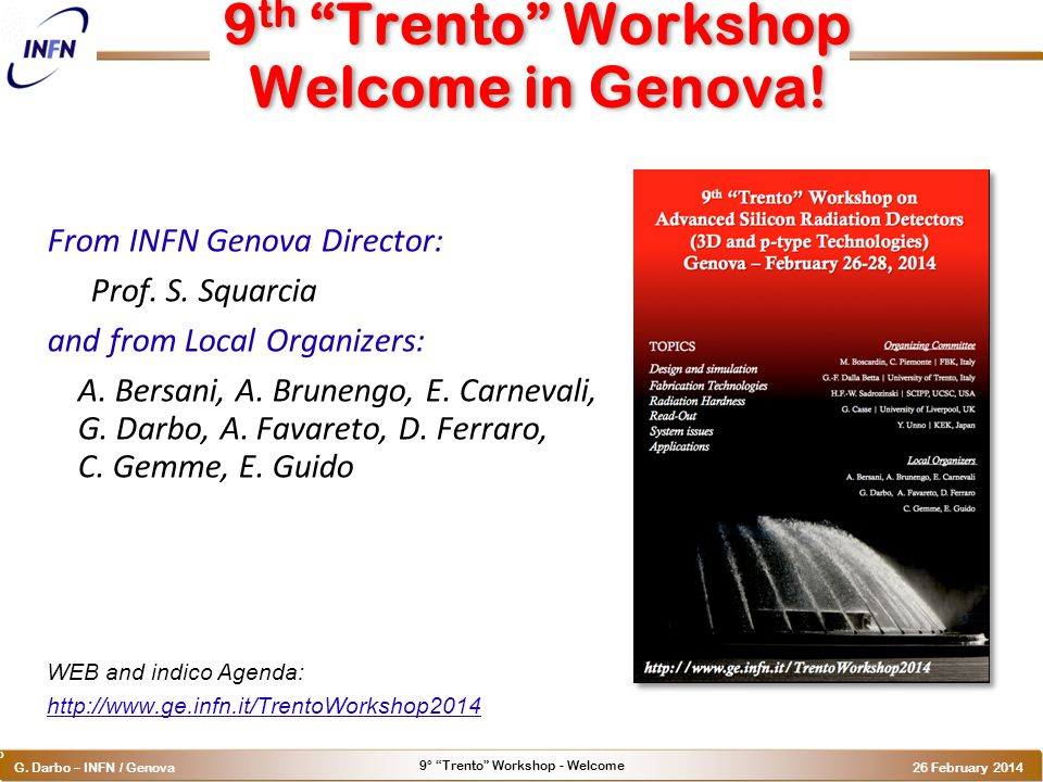 9° Trento Workshop - Welcome G.
