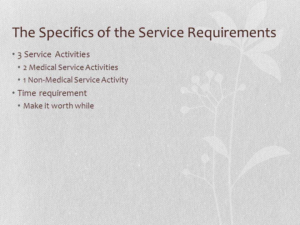 The Specifics of the Service Requirements 3 Service Activities 2 Medical Service Activities 1 Non-Medical Service Activity Time requirement Make it wo