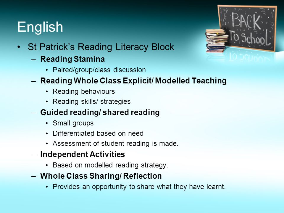 English St Patrick's Reading Literacy Block –Reading Stamina Paired/group/class discussion –Reading Whole Class Explicit/ Modelled Teaching Reading behaviours Reading skills/ strategies –Guided reading/ shared reading Small groups Differentiated based on need Assessment of student reading is made.