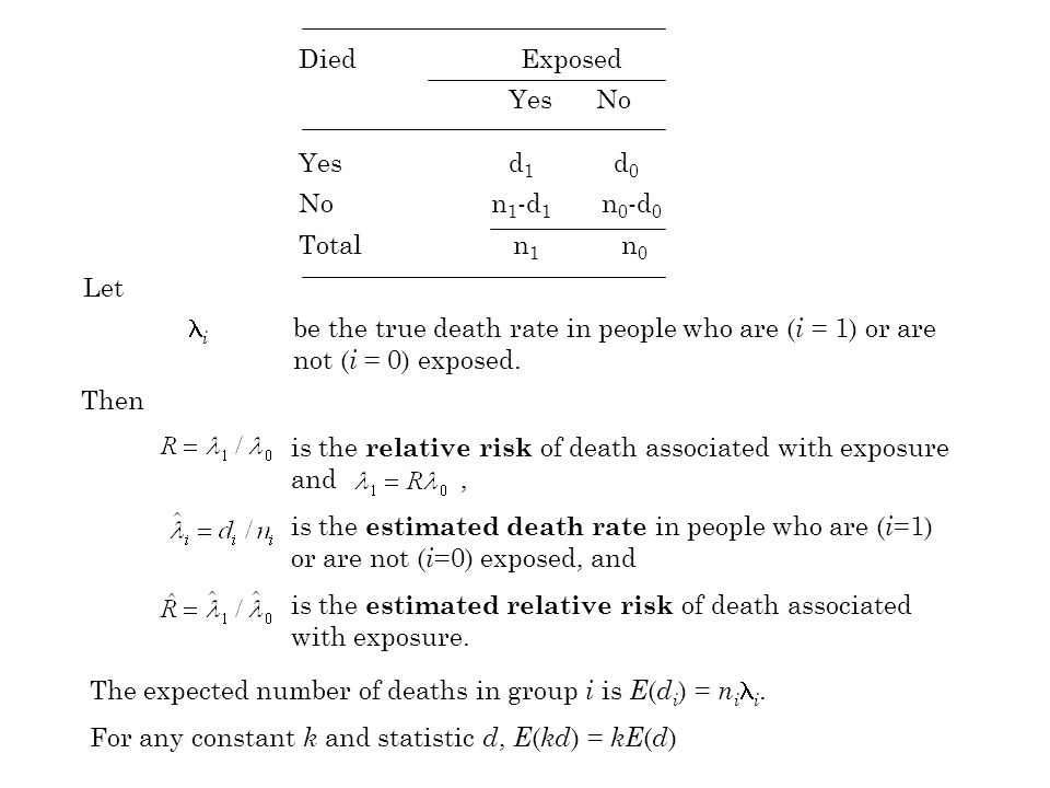 The expected number of deaths in group i is E ( d i ) = n i i.