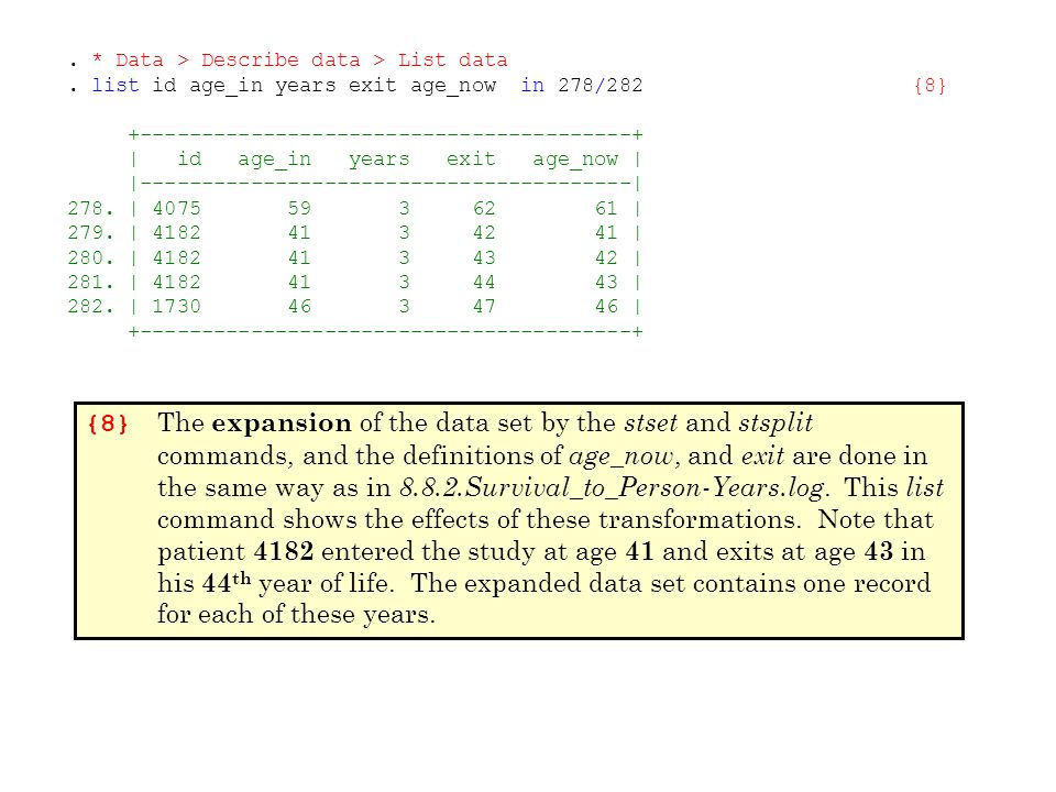{8} The expansion of the data set by the stset and stsplit commands, and the definitions of age _ now, and exit are done in the same way as in 8.8.2.Survival_to_Person-Years.log.
